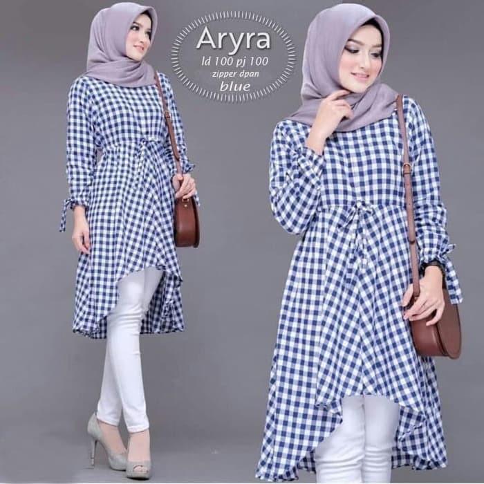 Gamis Qirania2hijab Matt Broklat Tyle Import Mix Cotton Gamis Gamis Pengajian Tunik Aryra Biru 95hjy Shopee Indonesia