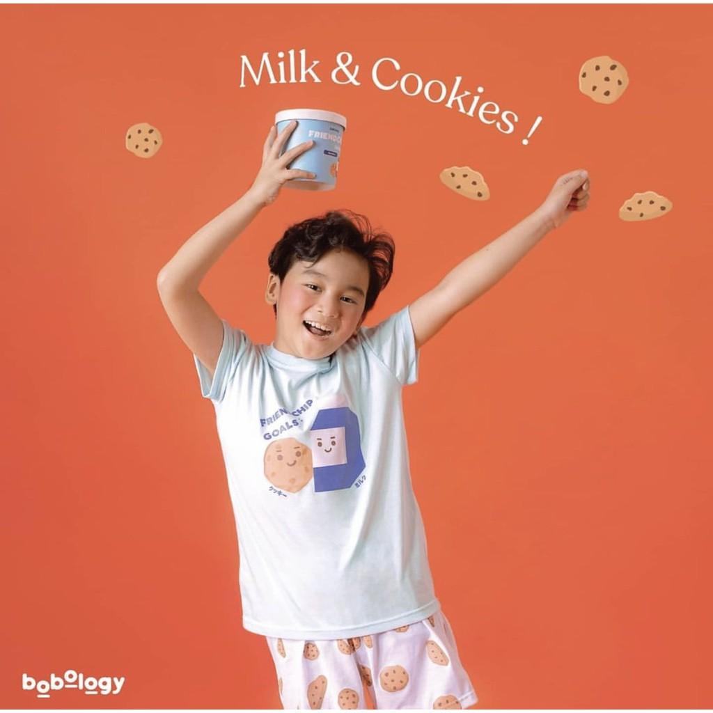 Milk and Cookies Pyjamas (Short Pants) -BOBOLOGY (Piyama PJ Baju Tidur Baju Rumah Kaos Anak)