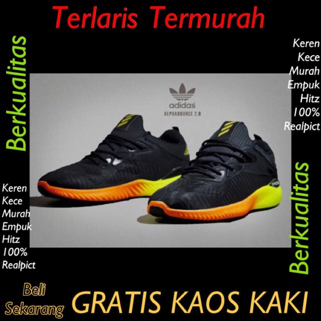Sepatu Sneakers Adidas Alphabounce Warna Abu Biru  618588c98a
