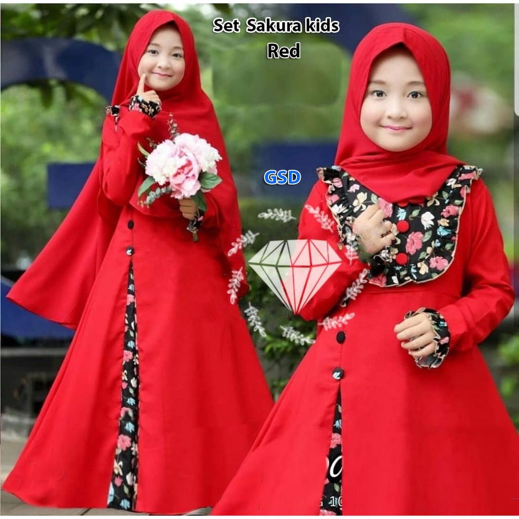 Baju Muslim Anak / Gamis Anak / Setelan Anak Cewek / Set Yuki Stripe | Shopee