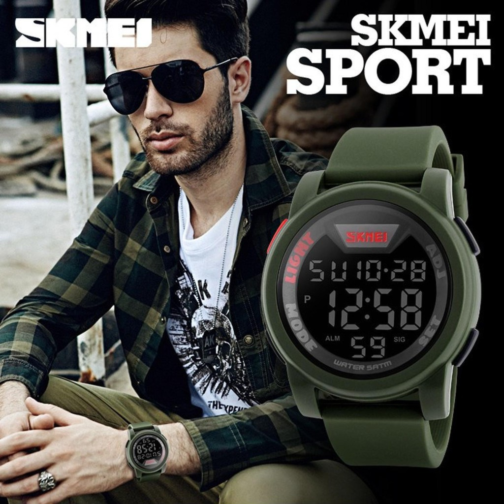 Jam Tangan Kompas Bisa Dipakai Renang Worldtime Skmei Original Digital Dg1231cm Stopwatch Date Alarm 1259 Shopee Indonesia