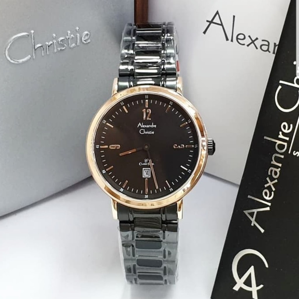 Jam Alexandre Christie AC8583 Wanita Original Stainless Steel Biru Rosegold | Shopee Indonesia