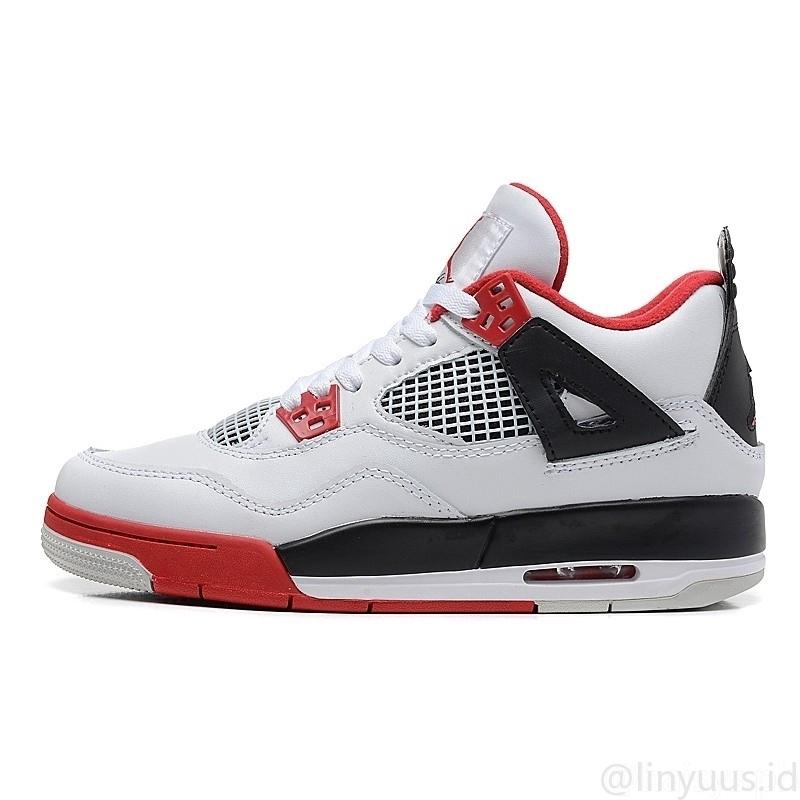 Dengan kotak] Asli Nike AIR JORDAN 4 anak laki-laki sepatu basket ...