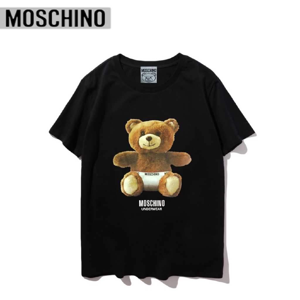 Kaos T Shirt Uni O Neck Lengan Pendek Gambar Kartun Beruang Chino Bahan Katun