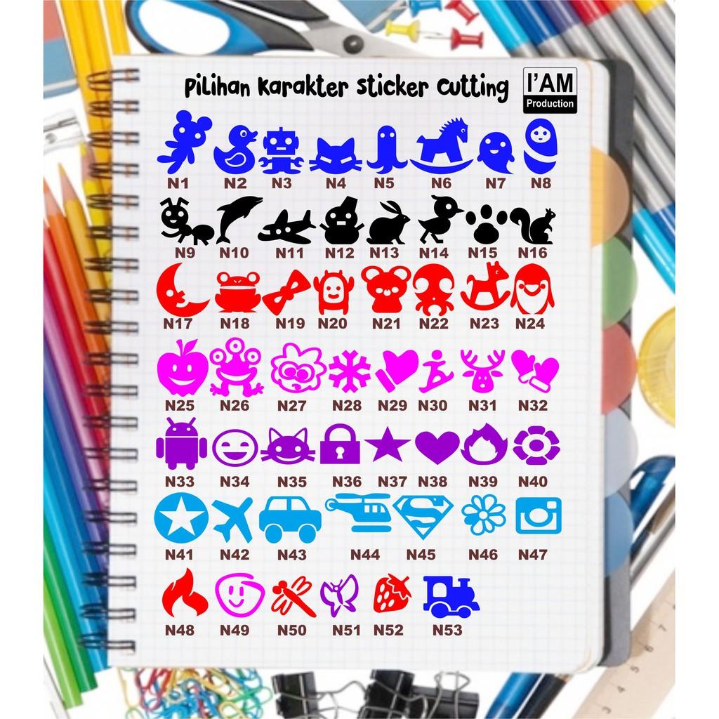 Sticker Cutting Nama Karakter Di Samping WATERPROOF Dan Bisa Custom Design