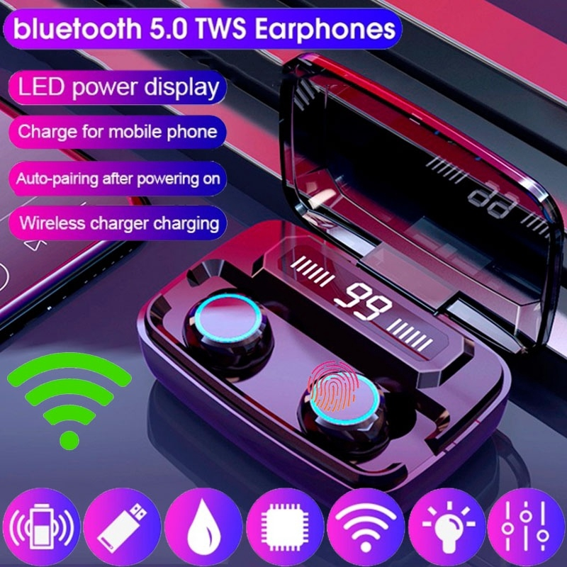 M11 Tws Bluetooth Earphone 8d Stereo Wireless Anti Air Sport Headset Mini Earbuds Led Display Shopee Indonesia