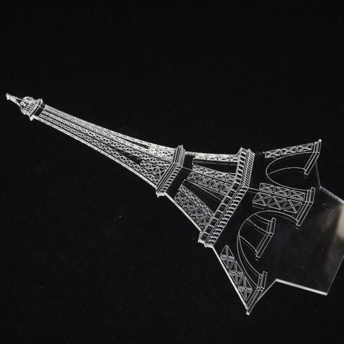 BARU Lampu Tidur Hias LED 3D Transparan Desain Eiffel Tower / Menara Eiffel - Putih