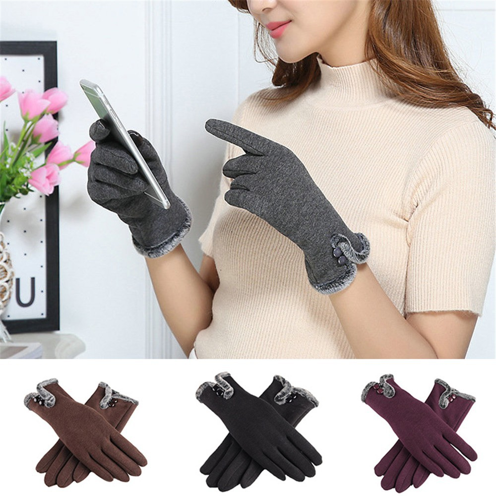 Thermal Warm Lined Anti-Slip Knit Texting Glove 「Winter Gloves for Men and Women」Fashion Unisex Faux Fur Plush Full Finger Mittens Winter Warm Couple Gloves