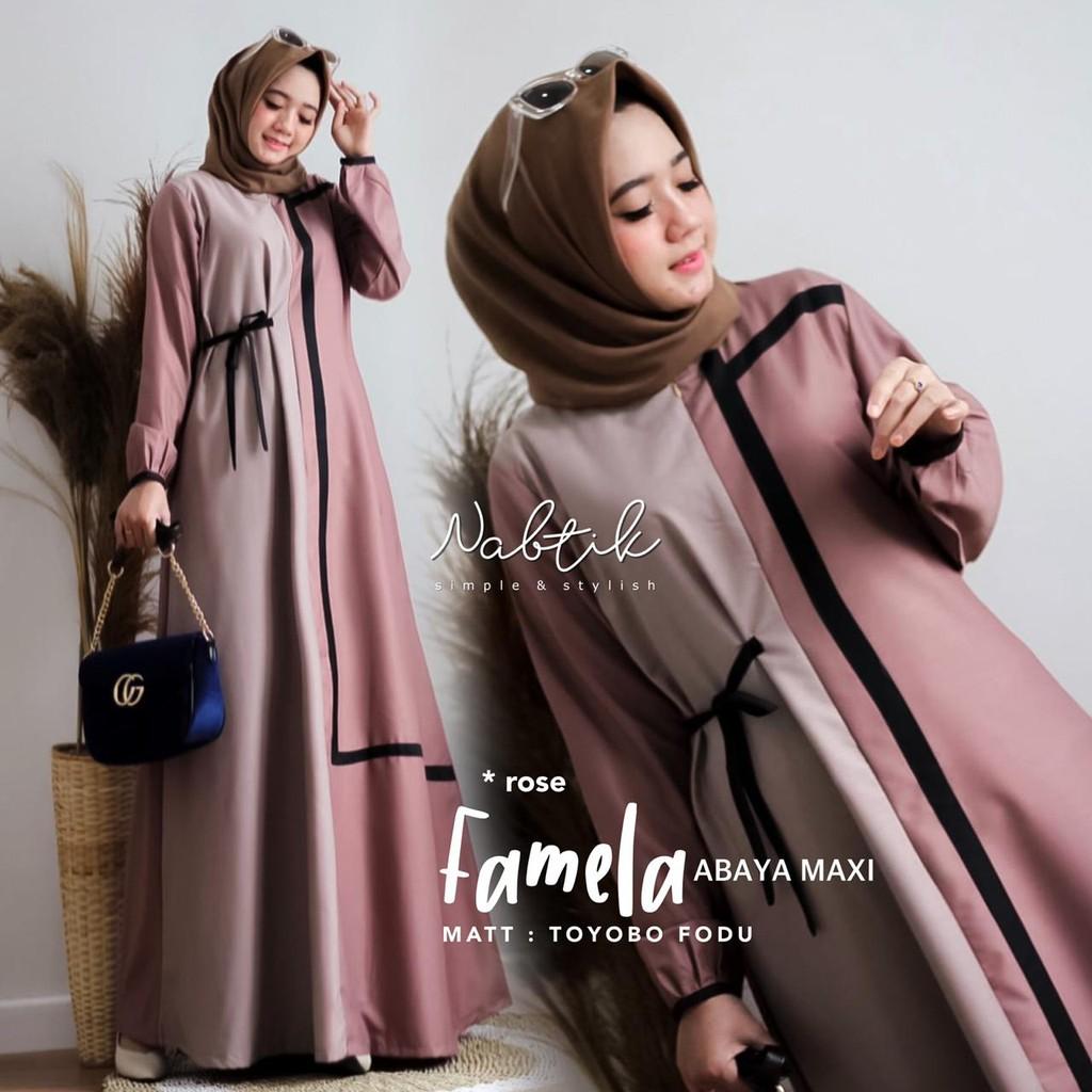 Baju Gamis Muslim Syari Murah  Famela Dress  Pakaian Hijab Abayya Maxi  Dress Wanita Terbaru