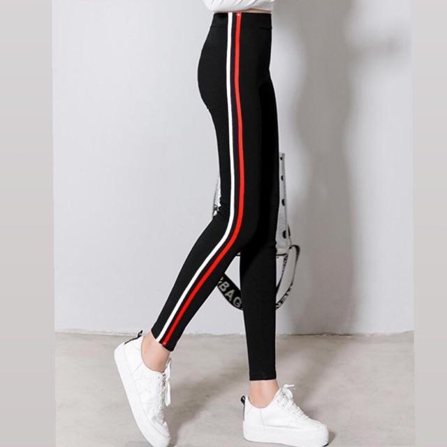 Legging Hitam Dengan Garis Putih Dan Merah Cocok Buat Gym Senam Maupun Hangout Shopee Indonesia
