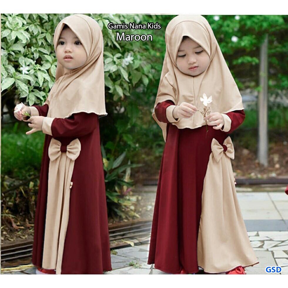 "Model Gamis Balita Terbaru ""All Size Fit 11 th"" LD 11 / Free Hijab /Fashion  Kids lebaran / Gamis Nana"