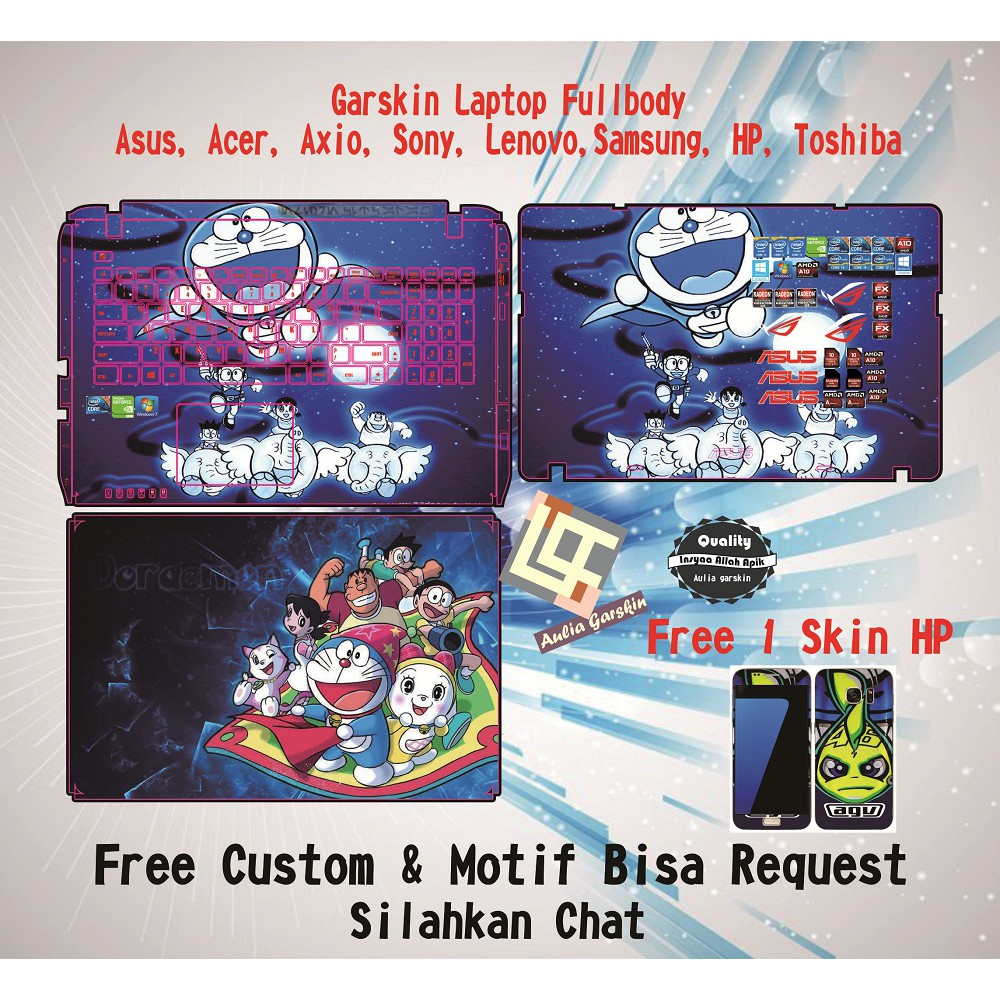 Doraemon 2 Cover Stiker Laptop 11 12 14 15 Inch Garskin Protector Hp Asus Paket Fullbody Theme Shopee Indonesia