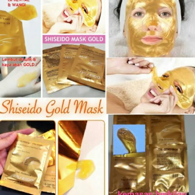 MASKER SHISEIDO GOLD WHITENING 24K MASK / MASK GOLD CAIR LIQUID 24K HARGA PER 10 SACHET   Shopee Indonesia