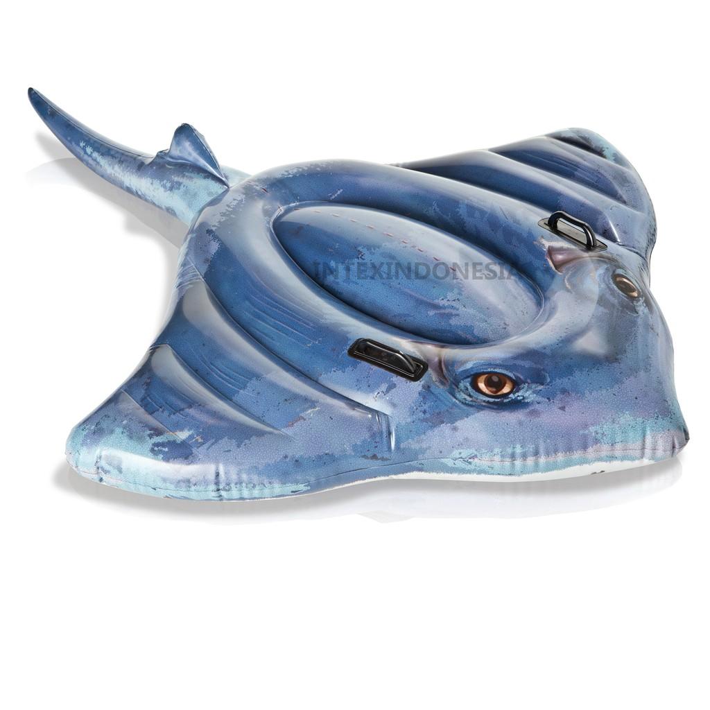 Intex Pelampung Stingray Ride On 57550 Kolam Renang Swim Center See Through Round Pool 57489 Blue