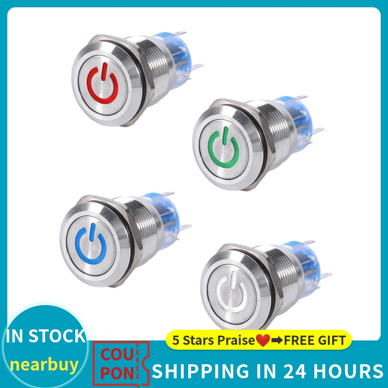 16//12mm Push Button 12V Car Durable LED Power Momentary Switch ON//OFF UK