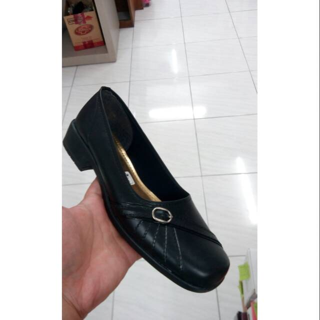 sepatu pantofel pindi 4022 tali hak 3 cm paskibra hitam remaja dewasa | Shopee Indonesia