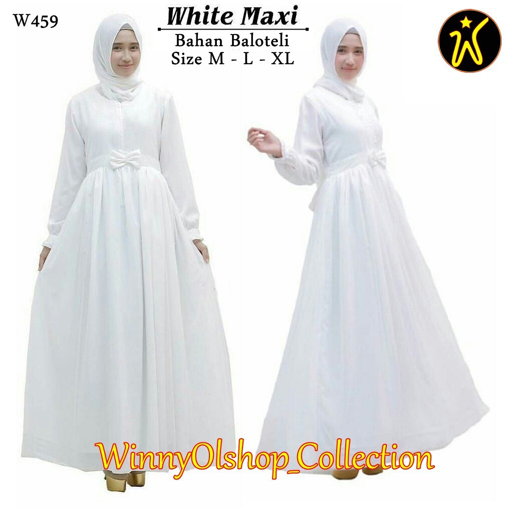 Gamis Putih White Maxi Size M,L,XL