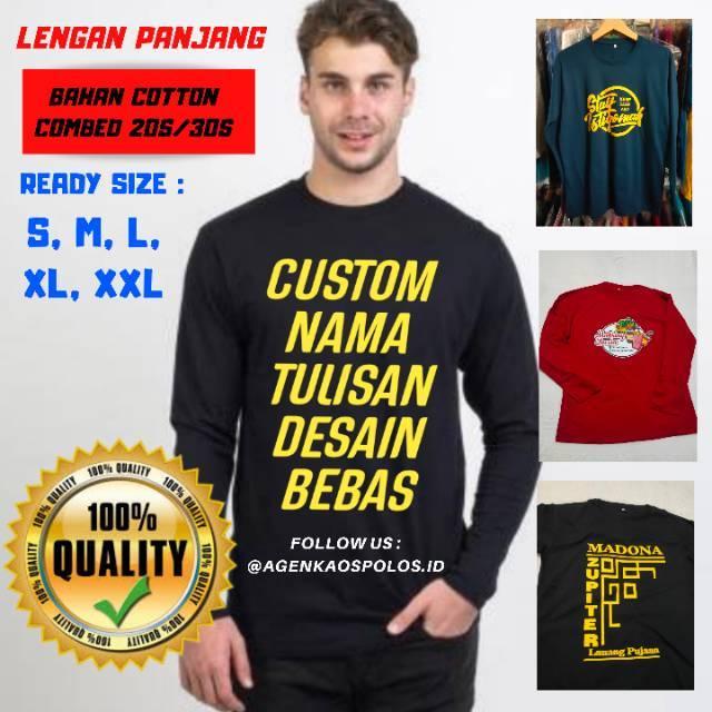 Custom Kaos Lengan Panjang Sablon Desain Nama Tulisan Bebas Suka Suka Bikin Baju Satuan Online Shopee Indonesia