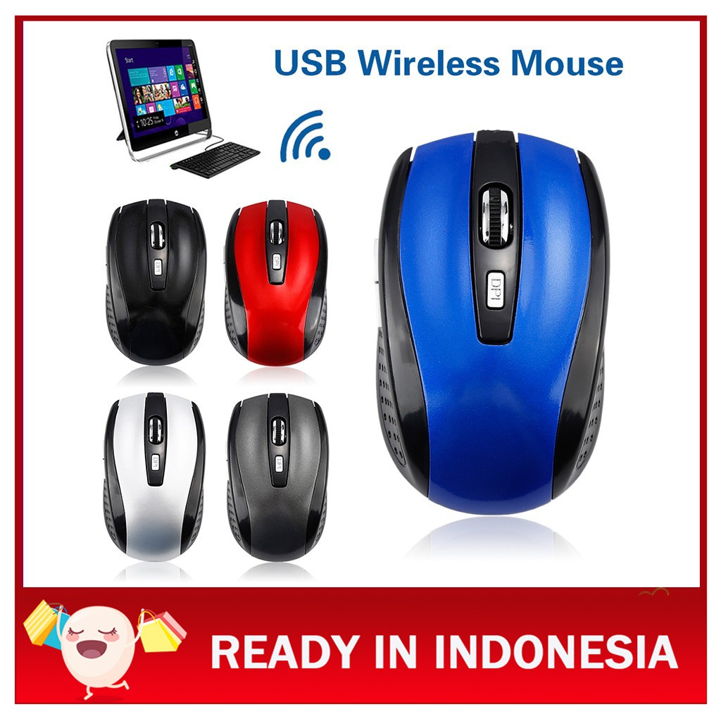 Wireless Gaming Mouse PC Gamer Mice 6 Buttons 1600DPI Computer Mouse