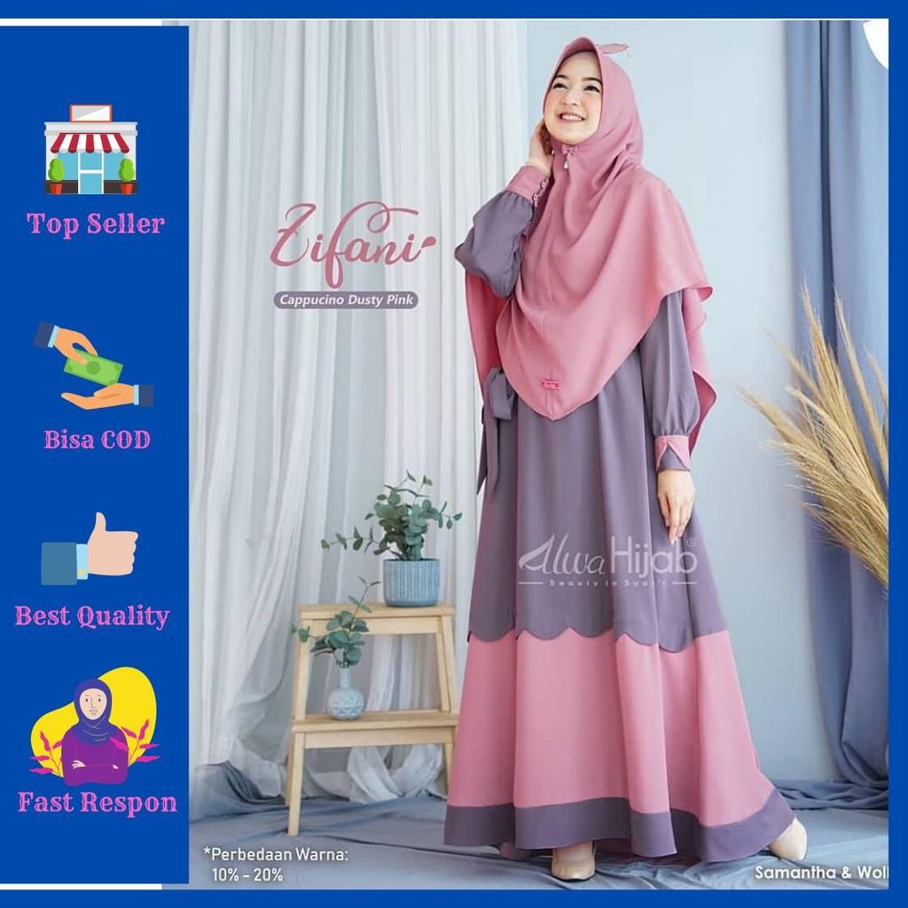 COD Gamis Syari Set Khimar Zifani Sari Modern Pakaian Wanita Muslimah Murah  Terbaru Remaja Dewasa