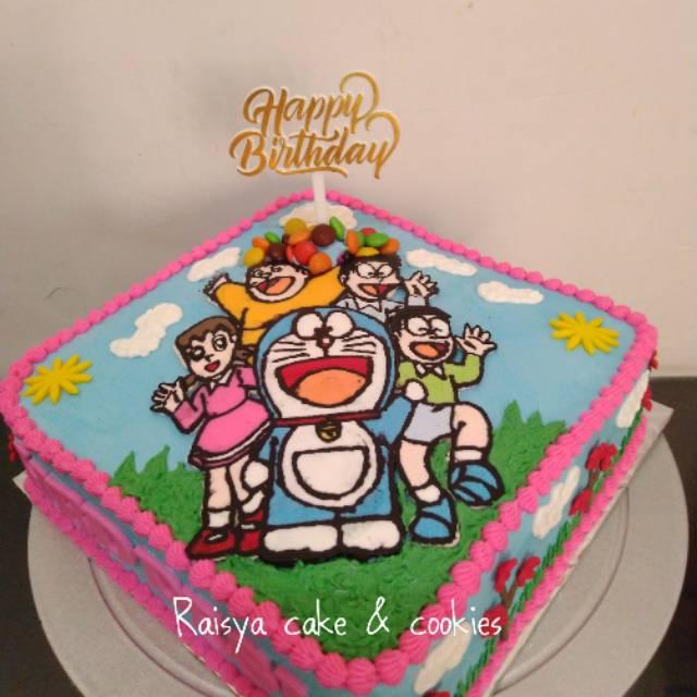 Kue Ulang Tahun Doraemon Buttercream Shopee Indonesia