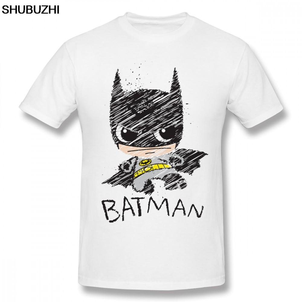 T Shirt Batman Mini Klasik Batman Sketsa T Shirt 2019 Mode Baru Yang Menyenangkan Pria Kapas T Shirt Putih
