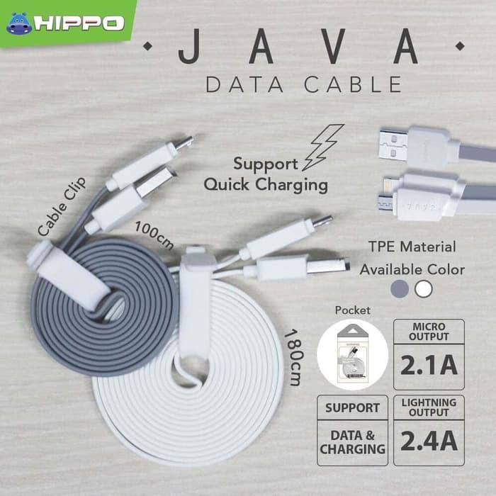 (Terbaru) KABEL DATA HIPPO JAVA IPHONE 5 6 7 100CM LIGHTNING CABLE ORIGINAL  Ready  83e675d803