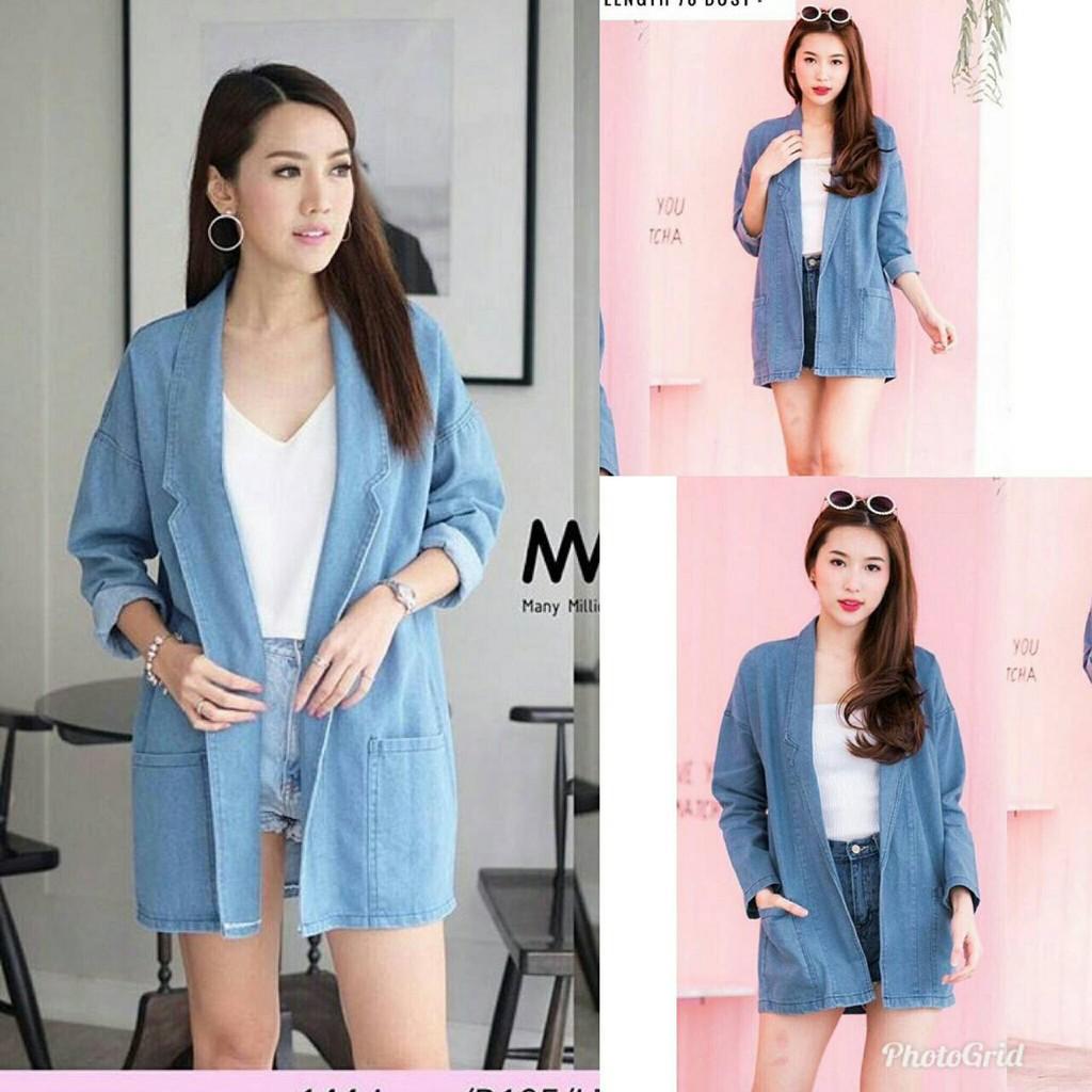 Blazer Wanita Size Xl Ghea Bahan Denim Supernova Cewek Flash  Pakaian Navy L Fashion Korea Murah Shopee Indonesia