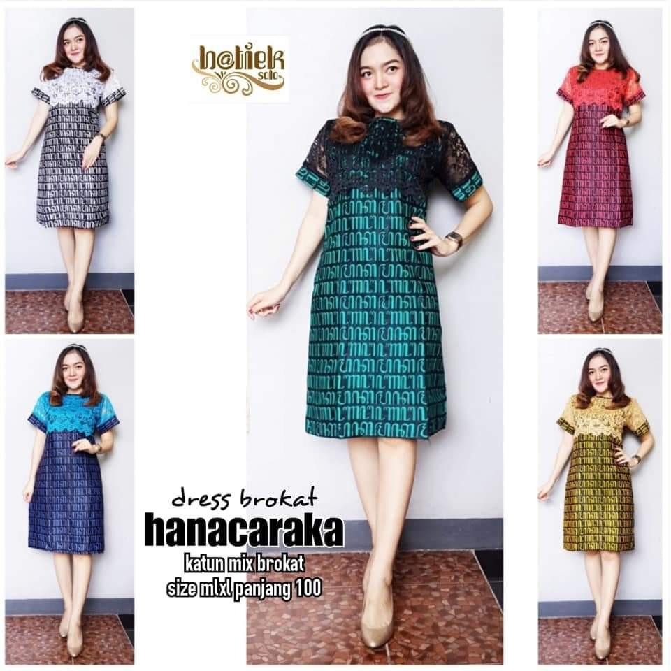 Dress Batik Wanita Brokat Motif Hanacaraka Lengan Pendek Warna Kombinasi  Premium Aksara Jawa