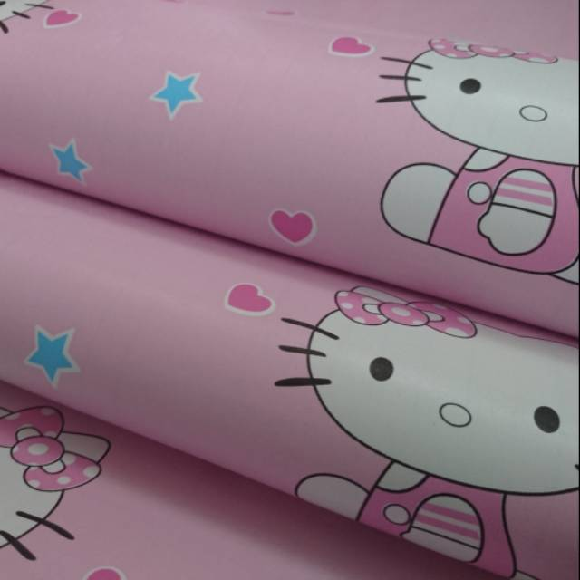 Wallpaper Dinding Sticker Hello Kitty Pink Love Star Shopee Indonesia