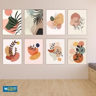walldecor abstak aesthetic frame poster kayu dekorasi
