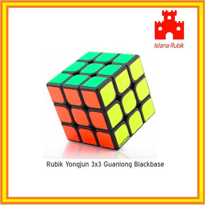 DISKON RUBIK 3X3 YONGJUN GUANLONG MAGIC CUBE 3X3X3 SPEED CUBE BLACKBASE !