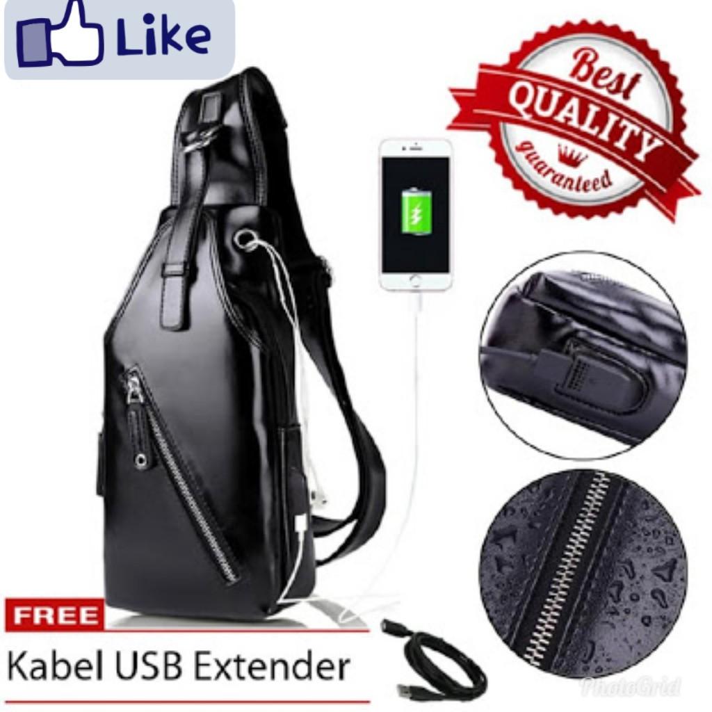 *KUALITAS TERBAIK* Tas Pria Kulit Anti Air + USB Port Selempang Slempang Sling bag Mesenger Bag | Shopee Indonesia