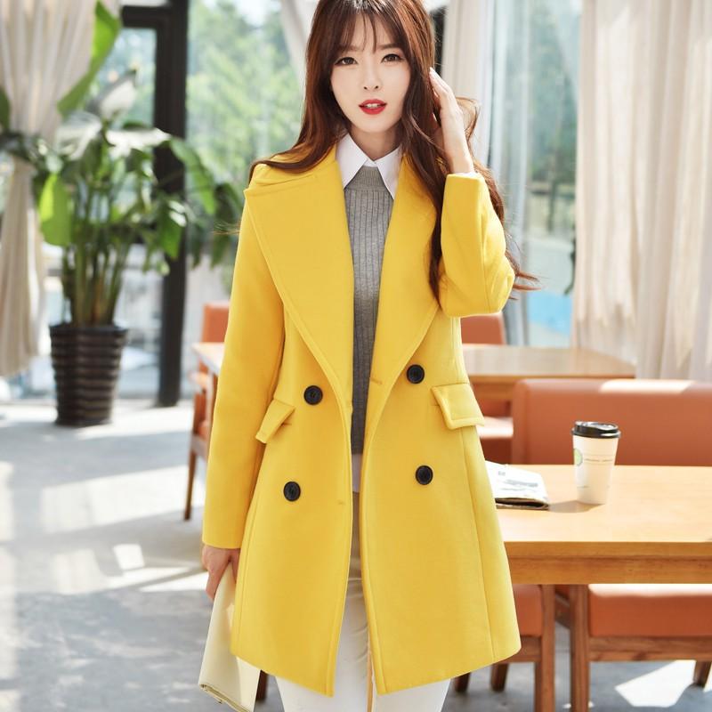 Women Korean Fashion Long Wool Coat Winter Coat Jacket Shopee Indonesia