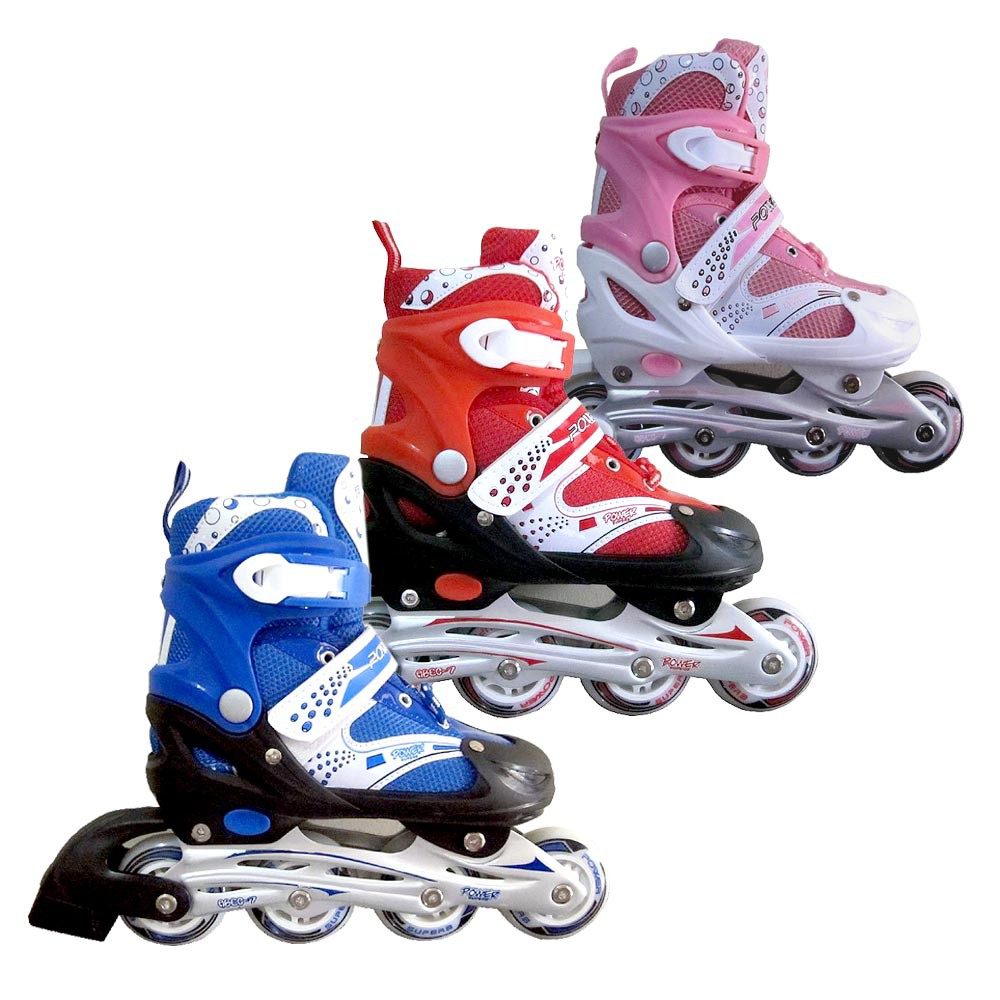 Sepatu Roda MERK POWER Model BAJAJ   RODA SAMPING   Inline (roda sejajar)  Skate Anak dan Dewasa  885bb071c8
