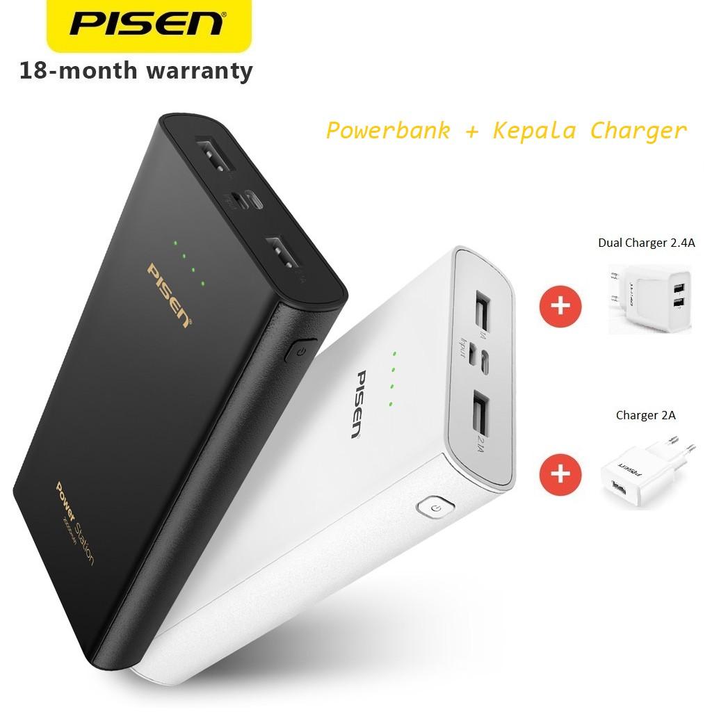 Pisen Powerbank 20000mah Power Station Dual Input Micro Usb Traveller Charger Delcell 21a Lightning Garansi 18 Bulan Shopee Indonesia