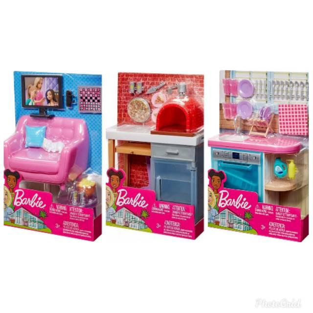Barbie Indoor Furniture Acessories Sofa Dishwasher Pizza Maker Shopee Indonesia