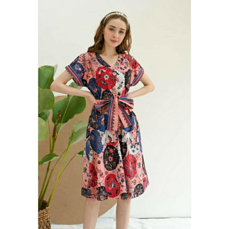 dress batik busui batik imlek peach motif