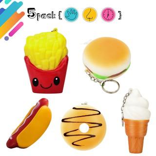 Hot Sale 5 Pcs Mainan Hot Dog Hamburger Kentang Goreng Donat Es Krim Lambat Naik Mainan
