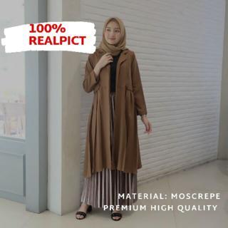 Long Outer Kardigan Panjang Wanita Remaja Plisket Rempel Moscrepe Terbaru Terlaris Blazer Panjang Shopee Indonesia