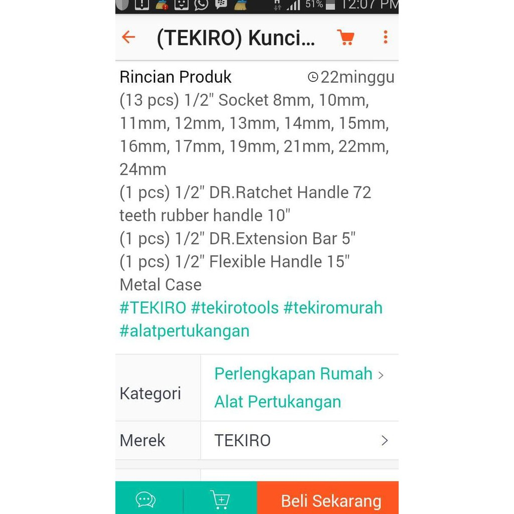 Jual Tekiro Kunci Sock Set 1 2 Dr 17 Pcs 8 24mmbesi Promo Hex Bit Socket Mata L 12 Mm Diskon Shopee Indonesia