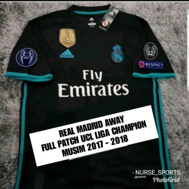 ac47675d8 1 SET JERSEY REAL MADRID AWAY FULL PATCH UCL LIGA CHAMPION MUSIM 2018 -  2019 GRADE ORI