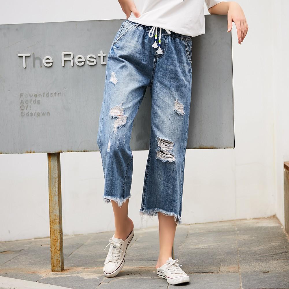 Celana Jeans Wanita Panjang 9/10 High Waist Aksen Robek Lutut & Patch Bintang Gaya Korea   Shopee Indonesia