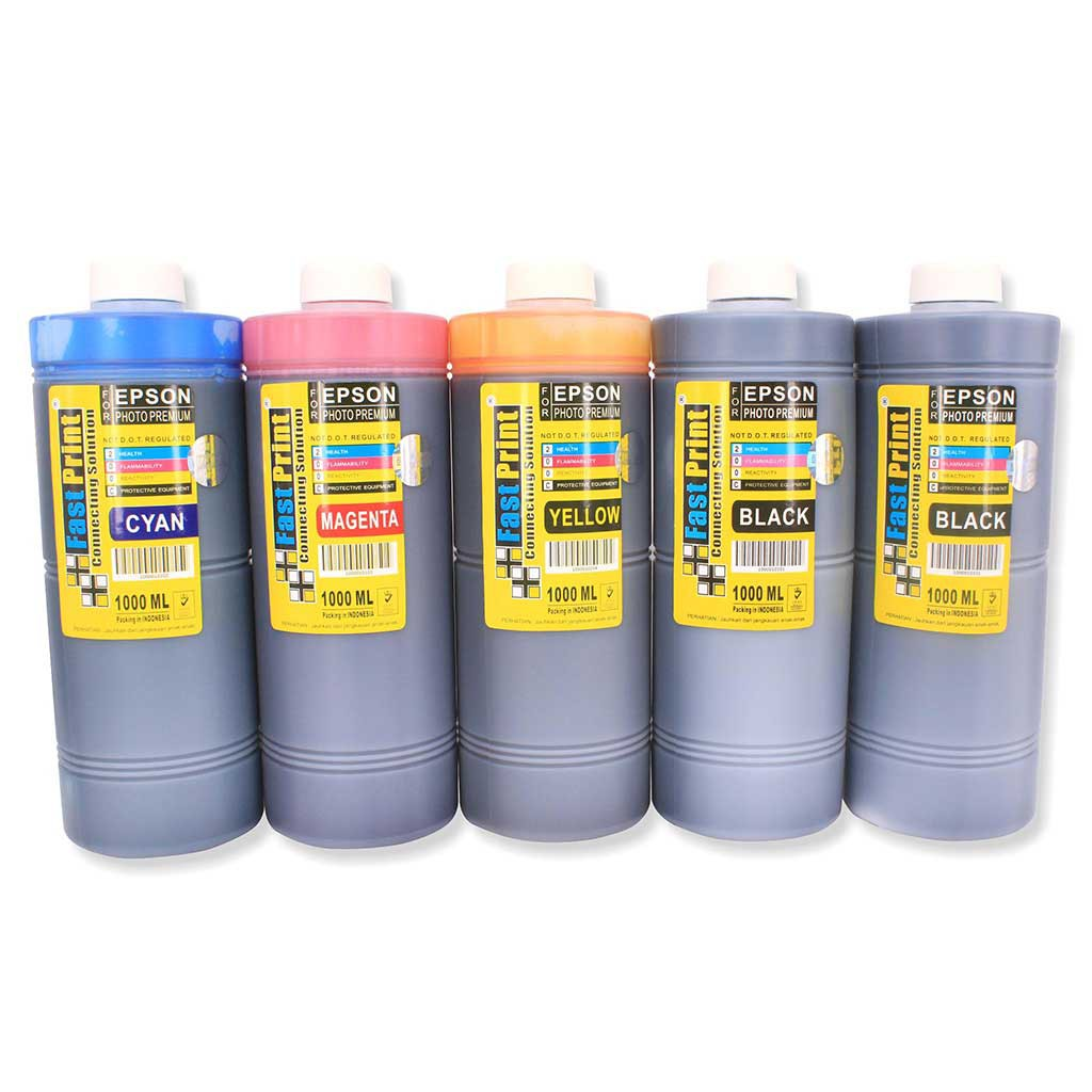 Fast Print Epson Photo Ultimate Plus Uv Hitam 70ml Update Daftar Light Cyan Khusus L Series 6 Warna L800 L850 L1800 Tinta Printer L810 L1300 1set