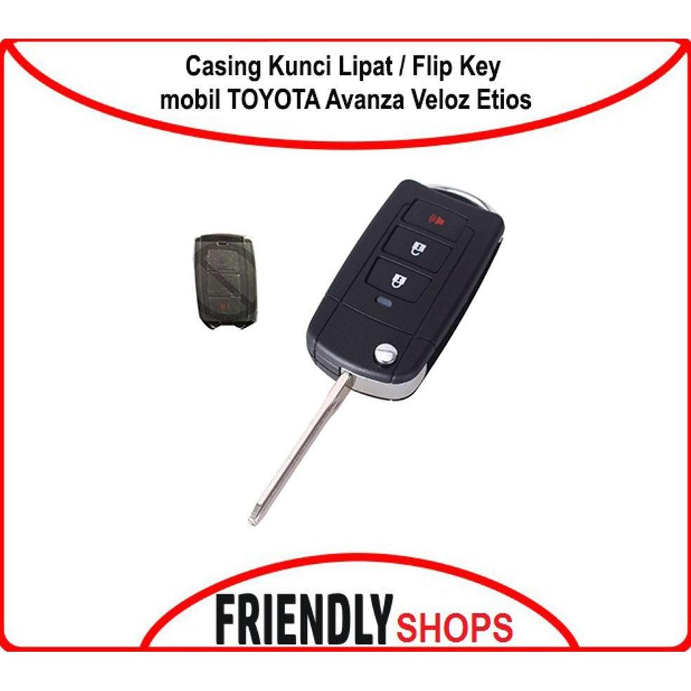 Best Produck Casing Kunci Lipat Flip Key Case Mobil Toyota Filp Innova Fortuner Vios Altis 3 Tombol Avanza Veloz Etios Shopee Indonesia