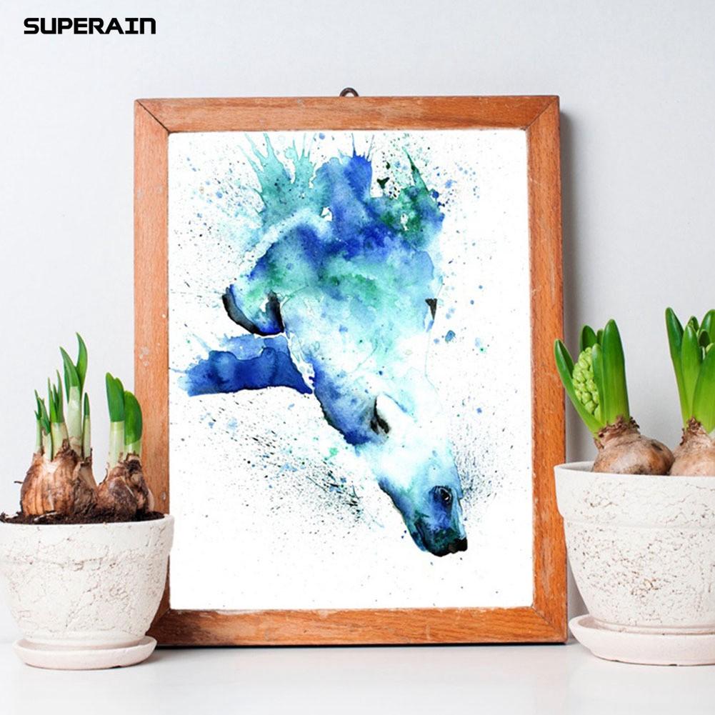 Lukisan Cat Air Modern Gambar Beruang Kutub Untuk Dekorasi Rumah
