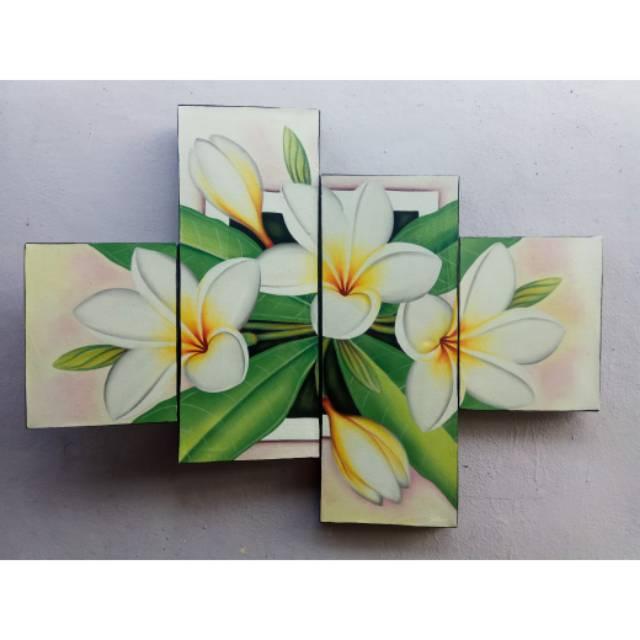 Lukisan Panel Bunga Kamboja Putih Minimalis Shopee Indonesia