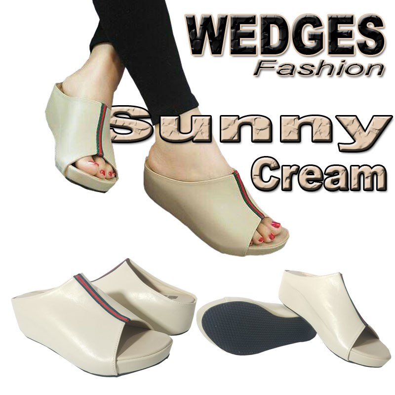 Clarisse CROCODILE WEDGES Wanita Wedges 5cm HITS Cream Hitam Merah Krem | Shopee Indonesia
