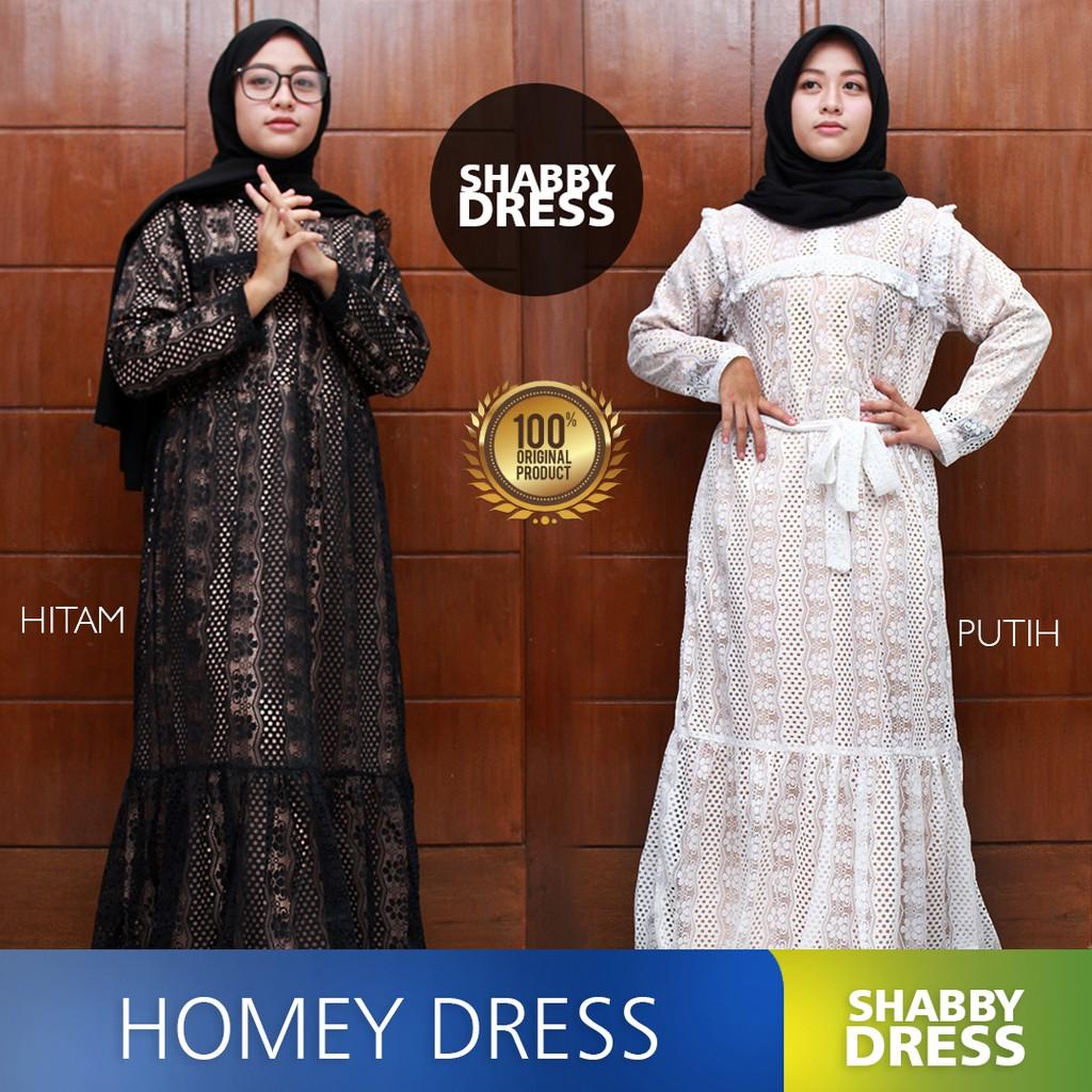 Shabby Dress Baju Outfit Muslim Gamis Wanita Remaja Kekinian Kain Brokat Modern Trendy All Size Shopee Indonesia