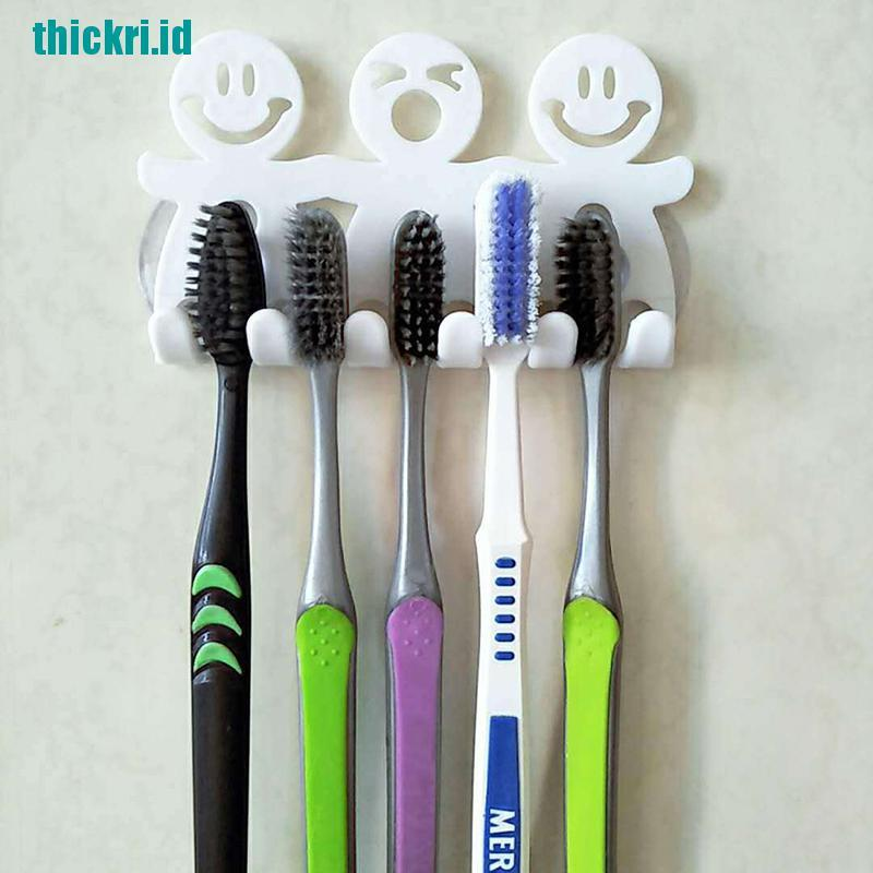 Tk Smile Facetoothpaste Toothbrush Holder Wall Mount Hanger Home Bathroom Suction Shopee Indonesia